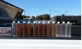 Water samples before and after ice pigging application