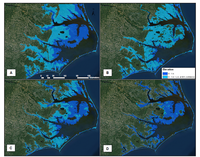 Lands vulnerable to 1 m sea level rise using four different digital elevation data sets showing increasing accuracy of the topographic information (A to D).  The background is a true color orthoimage. The darker blue shows potential inundation zones, and the lighter blue represents the area of uncertainty associated with the delineations (from Gesch 2009)